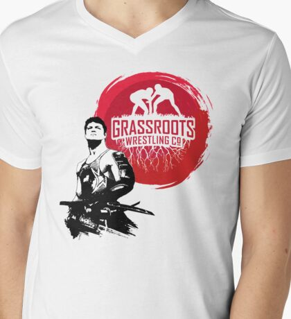 Samurai Wrestler From GrassRoots Wrestling Co. Mens V-Neck T-Shirt