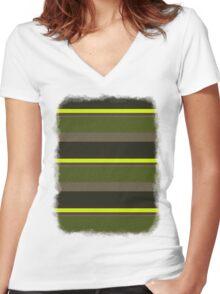 Cactus Garden Stripes 5H Women's Fitted V-Neck T-Shirt
