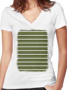 Cactus Garden Stripes 2H Women's Fitted V-Neck T-Shirt