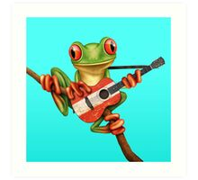 Tree Frog Playing Austrian Guitar Art Print