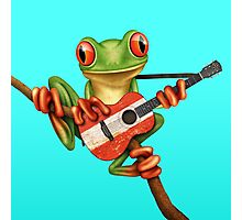 Tree Frog Playing Austrian Guitar Photographic Print