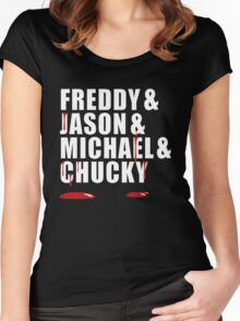 Freddy, Jason, Michael & Chucky Women's Fitted Scoop T-Shirt