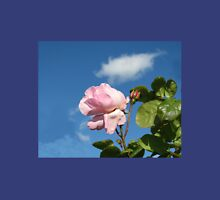 Pink Rose and Bud against Blue Summer Sky Womens Fitted T-Shirt