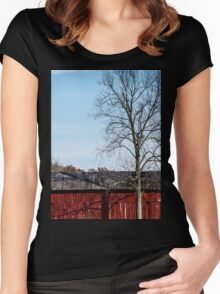 Red Barn With Tree Women's Fitted Scoop T-Shirt