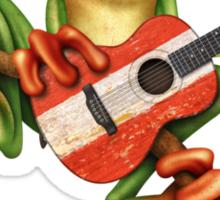 Tree Frog Playing Austrian Guitar Sticker