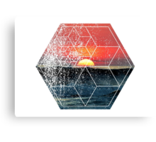 Nature and Geometry - Sunset at Sea Polygonal Design Canvas Print
