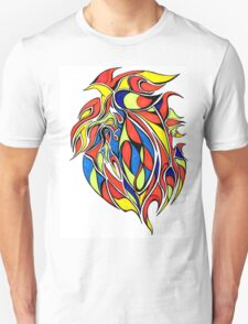 Red Yellow and BLue Abstract Design T-Shirt