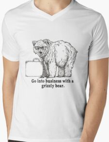 Go Into Business with a Grizzly Bear Mens V-Neck T-Shirt