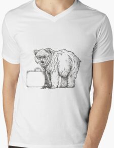 Go into Busines with a Grizzly Bear (2) Mens V-Neck T-Shirt