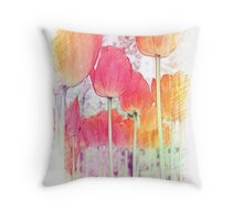 art style color pencil sketch red and golden tulip flowers. floral photo art. Throw Pillow
