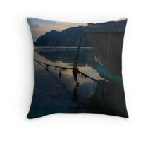 Sunset boat Throw Pillow