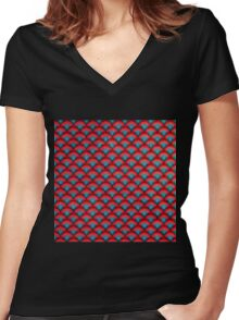 Circles Background  Spiral Surface Red and Blue                                              Women's Fitted V-Neck T-Shirt