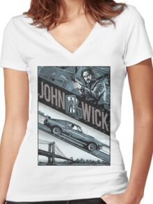 john wick chapter 2 movie Women's Fitted V-Neck T-Shirt