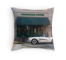 1954 Corvette Coffee Stop Throw Pillow