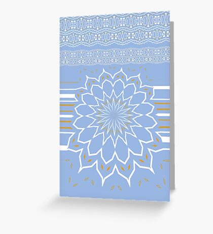Powder Blue Abstract Flower Greeting Card