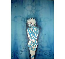 Blue Girl Confused Photographic Print