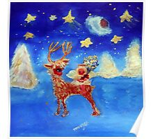 Little Angel on a Reindeer by Marie-Jose Pappas Poster