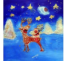 Little Angel on a Reindeer by Marie-Jose Pappas Photographic Print