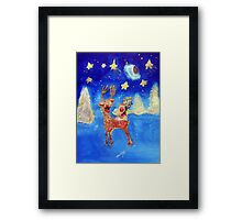 Little Angel on a Reindeer by Marie-Jose Pappas Blue Framed Print