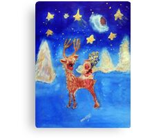 Little Angel on a Reindeer by Marie-Jose Pappas Blue Canvas Print