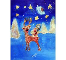 Little Angel on a Reindeer by Marie-Jose Pappas Blue Photographic Print