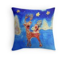 Little Angel on a Reindeer by Marie-Jose Pappas Blue Throw Pillow