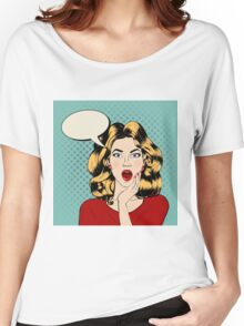 Surprised Woman with Bubble in Pop Art Style Women's Relaxed Fit T-Shirt