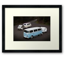 Twin Kombis with Teardrop Caravans Framed Print