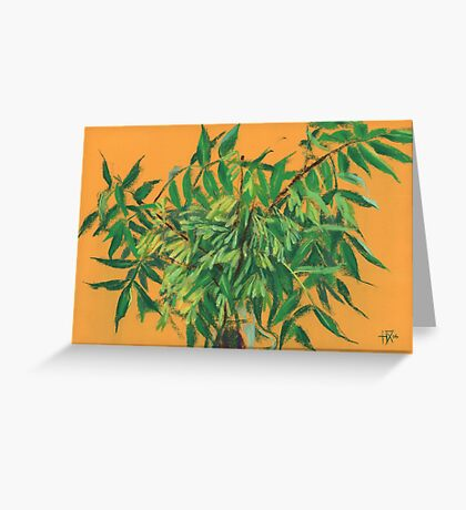 """Ash-tree"", green & yellow, floral art Greeting Card"