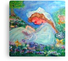 Little Girl Reading in the Garden Decor & Gifts Pink Canvas Print