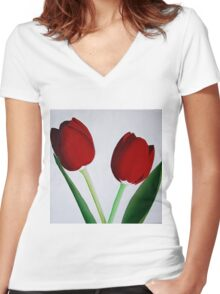 TWO RED TULIPS Women's Fitted V-Neck T-Shirt