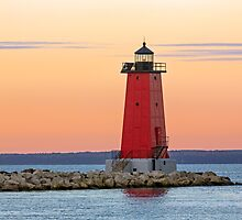 Morning at Manistique Lighthouse by Kenneth Keifer