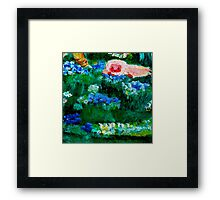 Little Lamb Sleeping in the Garden Red by Marie-Jose Pappas Framed Print