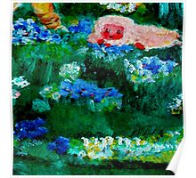 Little Lamb Sleeping in the Garden Red by Marie-Jose Pappas Poster