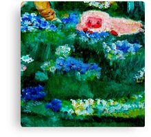 Little Lamb Sleeping in the Garden Blue Canvas Print