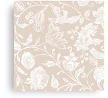 Tan Vintage Inspired Floral Pattern Canvas Print