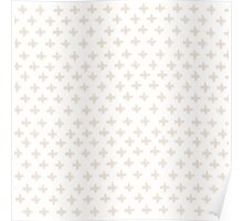 Swiss Cross in Taupe and Cream Poster