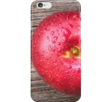 Apple with water drops on table 3 iPhone Case/Skin