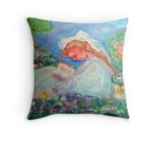 Little Girl Reading in the Garden  Throw Pillow