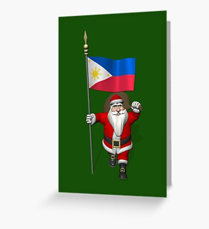 Santa Claus With Flag Of The Philippines Greeting Card