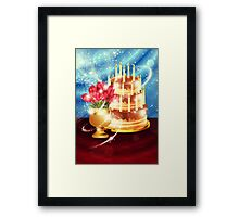 Chocolate cake and tulips Framed Print