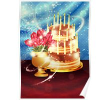 Chocolate cake and tulips Poster