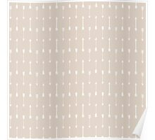 Taupe and White Cultural Arrow Pattern Poster