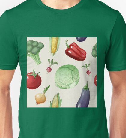 Vegetables Seamless Pattern in Vintage Style. Healthy Food Unisex T-Shirt