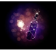 Glowing wine bottle and glass Photographic Print