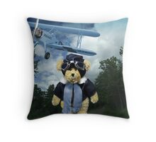 COME FLY WITH ME>BEAR PLANE PICTURE>CARD>PILLOW>TOTE BAG Throw Pillow