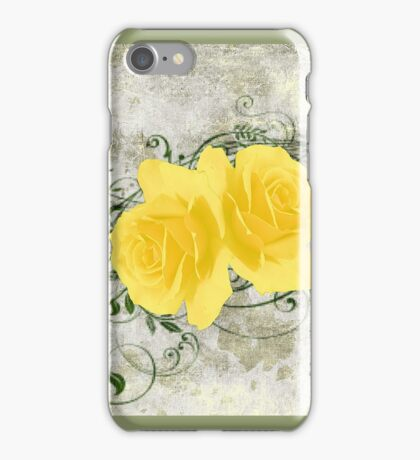 Vintage Look Stone Yellow Roses iPhone Case/Skin