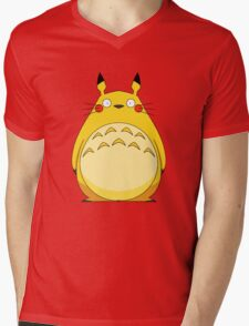 Totoro Pikachu Mens V-Neck T-Shirt