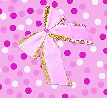 Girly Pink Polka Dots And Bow by Melissa Park