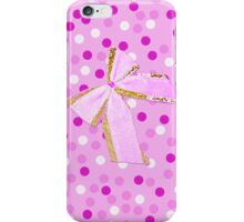 Girly Pink Polka Dots And Bow iPhone Case/Skin